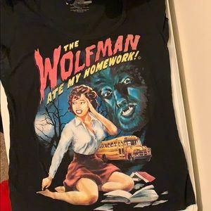 """Wolfman ate my homework"" girly tee"